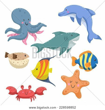Sea Animals Cartoon Set. Trendy Design Sea And Ocean Wildlife. Isolated Vector Illustration. Octopus