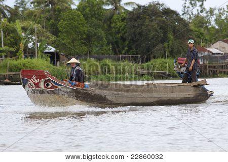 Boat in Mekong River Vietnam