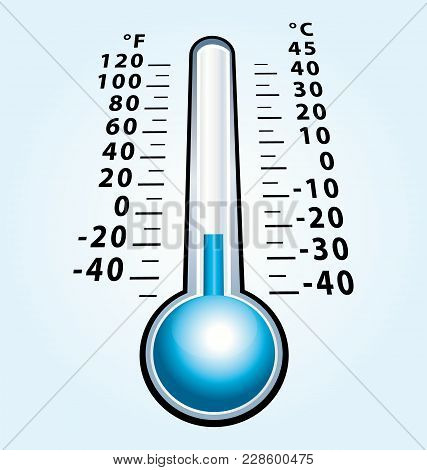 Frozen Thermometer With Negative Temperature. Cold Vector Icon.