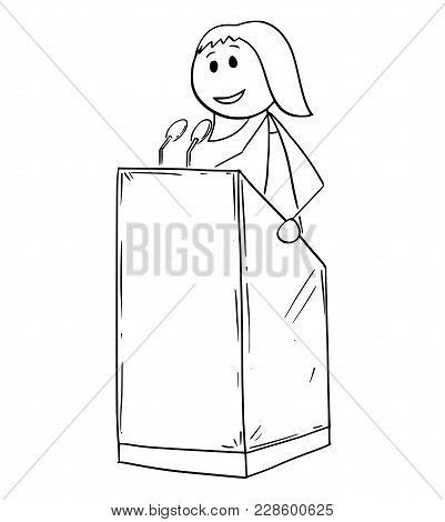 Cartoon Stick Man Drawing Conceptual Illustration Of Businesswoman Or Woman Business Speaker Or Orat