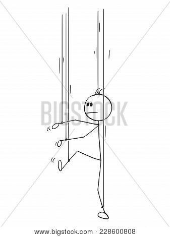 Cartoon Stick Man Drawing Conceptual Illustration Of Businessman As Puppet Or Marionette Without His