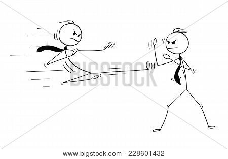 Cartoon Stick Man Drawing Conceptual Illustration Of Two Businessmen Kung Fu Or Karate Fighting. Bus