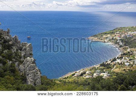 Blue Bay Near Simeiz Town In Crimea, Ukraine
