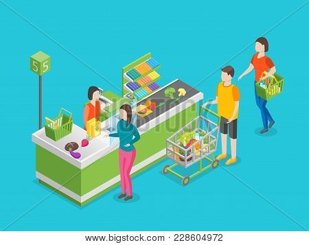 Checkout Counter Pay In Store 3d Isometric View On A Blue Background With Cashier And People. Vector