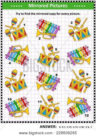 Iq Training Visual Puzzle With Musical Toy Instruments: Try To Find Mirrored Copy For Every Picture.
