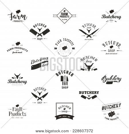 Set Of Retro Styled Butchery Logo Templates. Butchery Labels With Sample Text. Butchery Design Eleme