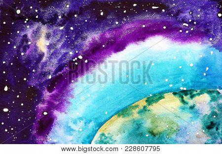 Abstract Watercolor Background With Part Of Earth