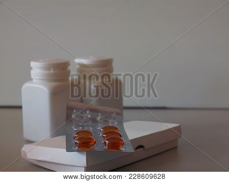 Close Up Pharmaceutical Medicament, Cure In Container For Health , Capsule Pills With Medicine Antib