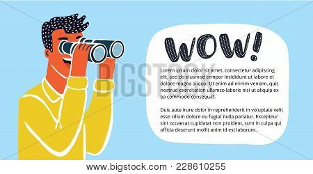 Vector Horizontal Banner With Funny Cute Colorful Funny Illustration Of Businessman Looking Through