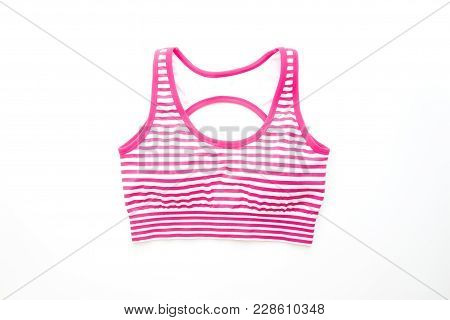 Pink Color Stripe Sport Bra On White Background, Healthy Lifestyle