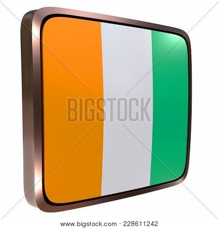 3d Rendering Of An Ivory Coast Flag Icon With A Metallic Frame. Isolated On White Background.