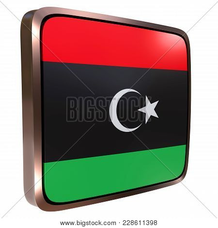 3d Rendering Of A Libya Flag Icon With A Metallic Frame. Isolated On White Background.