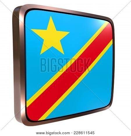 3d Rendering Of A Democratic Republic Of Congo Flag Icon With A Metallic Frame. Isolated On White Ba