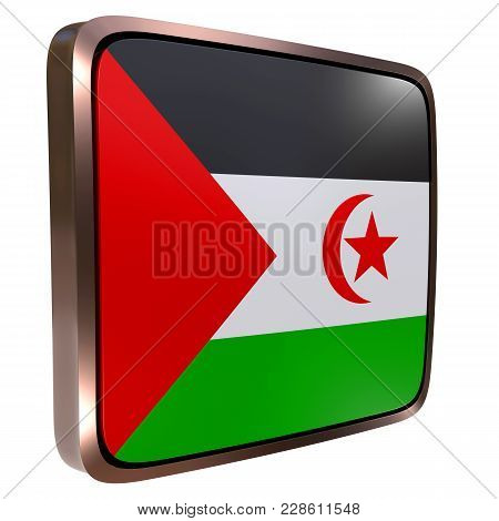 3d Rendering Of A Sahrawi Arab Democratic Republic Flag Icon With A Metallic Frame. Isolated On Whit