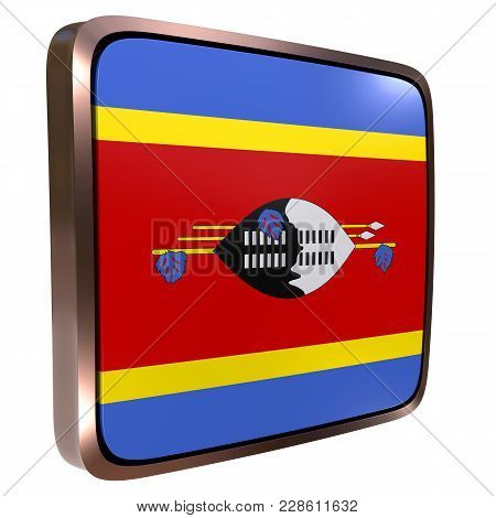 3d Rendering Of A Kingdom Of Swaziland Flag Icon With A Metallic Frame. Isolated On White Background