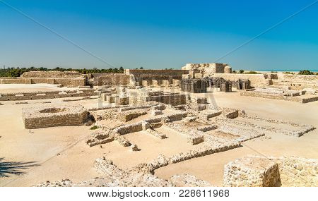 Ancient Ruins At Bahrain Fort. A Unesco World Heritage Site In The Middle East