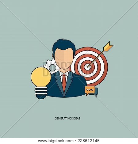 Generating Ideas Concept. Smart Solutions And Ideas For Business And Management. Flat Vector Illustr