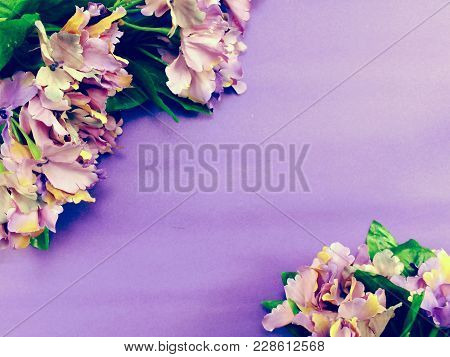 Space Purple Background With Artificial Flower Bouquet