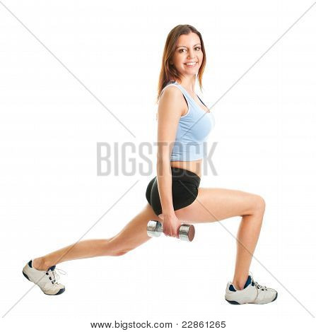 Fitness woman doing lunge exercise. Isolated on white poster