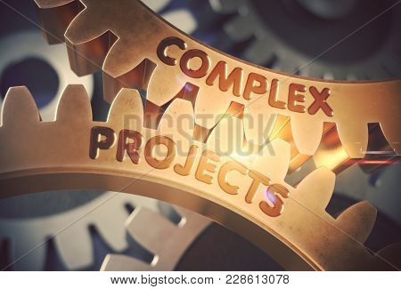 Golden Metallic Gears With Complex Projects Concept. Complex Projects On The Mechanism Of Golden Met