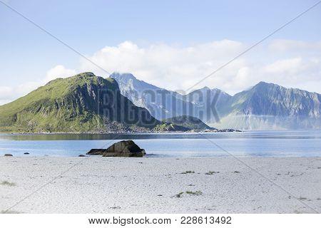 The Bay At Haukland Beach, Lofoten, Norway, At Low Tide.