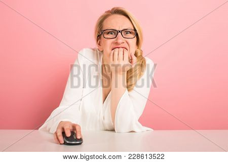 Attractive Businesswoman In Glasses Working On Computer With Mouse Bite Her Nails See Something Thri