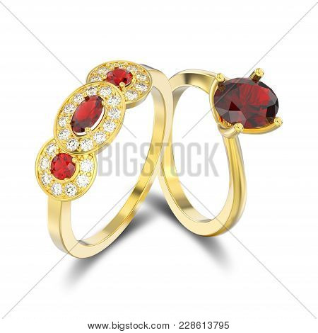 3d Illustration Isolated Two Yellow Gold Three Rubies Stone Solitaire Engagement Ring And Engagement