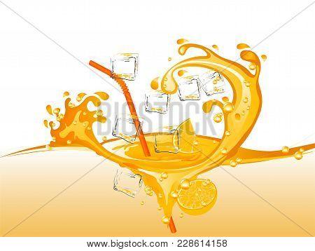 Orange Juice With Straw And Ice Cubes