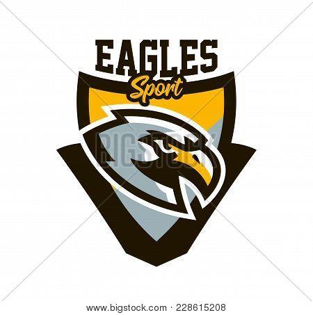 Colorful Logo, Sticker, Emblem Of A Eagle. Flying Bird, Hunter, Predator, Dangerous Animal, Shield L
