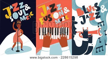 Vector Colorful Set Of Poster With Hand Drawn Illustration With Singer And Hand Drawn Lettering Jazz