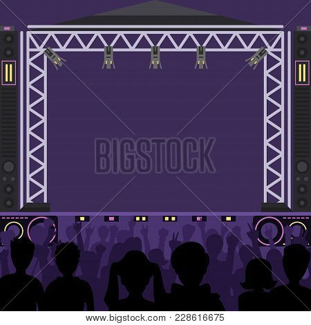 Concert Stage Scene Vector Music Stage And Night Concert Party. Young Pop Group Fun Zone People Silh
