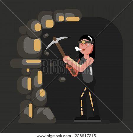 Miner Girl In Work. Vector Illustration, Eps 10