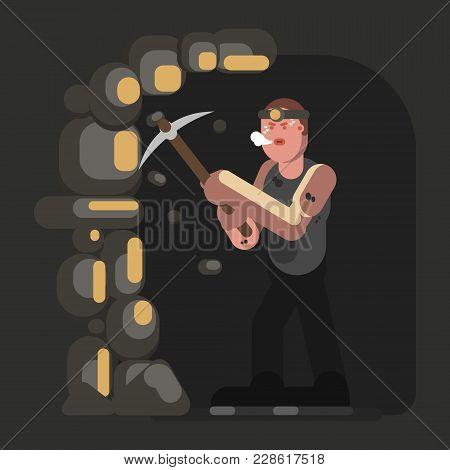 Miner In Work. Excellent Vector Illustration Eps 10