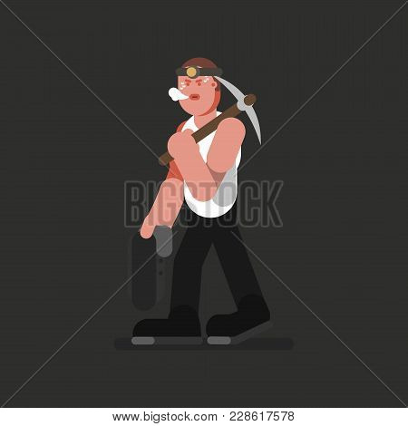 Miner With Jacket And Kirk. Vector Illustration, Eps 10
