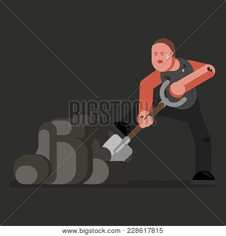 Miner With Shovel. Excellent Vector Illustration, Eps 10