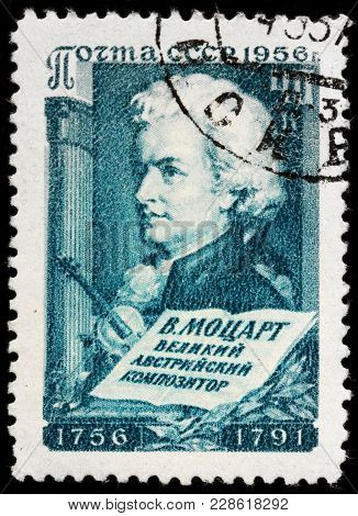 Luga, Russia - February 08, 2018: A Stamp Printed By Russia (ussr) Shows Image Portrait Of Famous Au