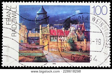 Luga, Russia - February 08, 2018: A Stamp Printed By Germany Shows Painting Water Tower In Bremen By