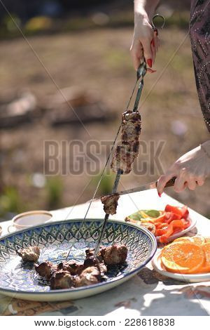 Rest With Shish Kebabs On The Nature