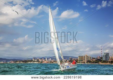 Sochi, Russia - May 21, 2016: Speed Yacht Elan 210