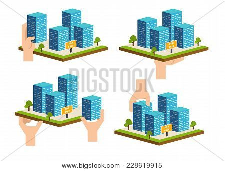 Real Estate Building Concept. Construction Development Company Advertising. Urban Or Commercial Isom