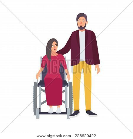 ebace88d7a Disabled Woman Sitting In Wheelchair And Her Romantic Partner Or Friend Standing  Beside. Female Char