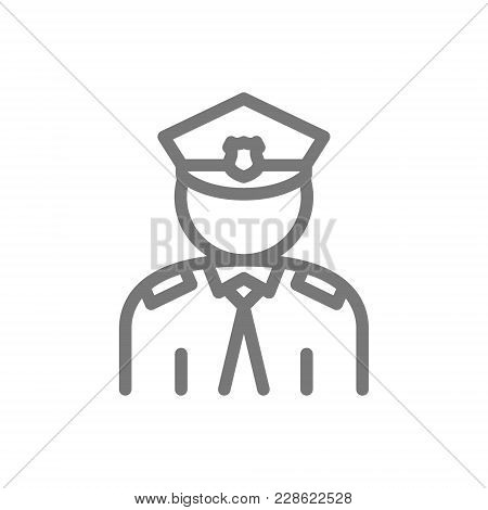 Simple Police, Officer, Cop Line Icon. Symbol And Sign Vector Illustration Design. Isolated On White