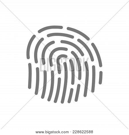 Simple Fingerprint, Id App Line Icon. Symbol And Sign Vector Illustration Design. Isolated On White