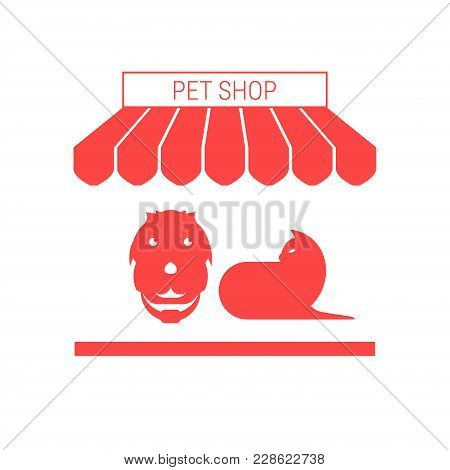 Pet Shop, Dog And Cat Single Flat Vector Icon. Striped Awning And Signboard. A Series Of Shop Icons.