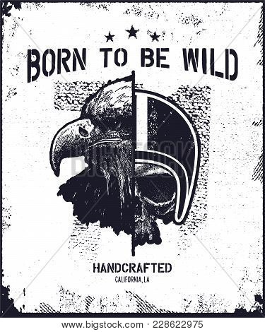 Skull Biker In Helmet With Eagle Head. Hand Drawn. Vector Illustration.
