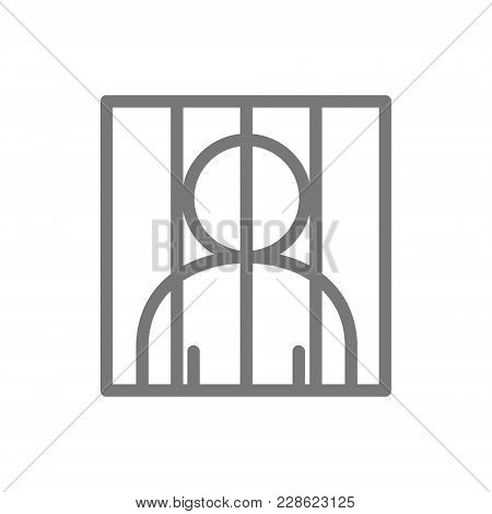 Simple Prisoner Behind Bars Line Icon. Symbol And Sign Vector Illustration Design. Isolated On White