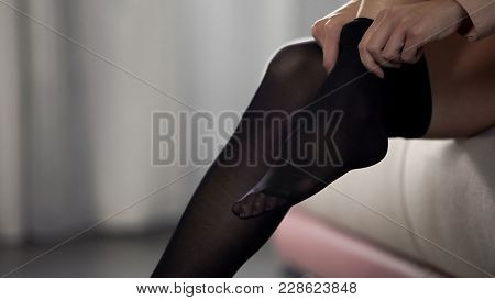 Business Lady Putting Tights On, Dressing For Office Meeting With Customers, Stock Footage