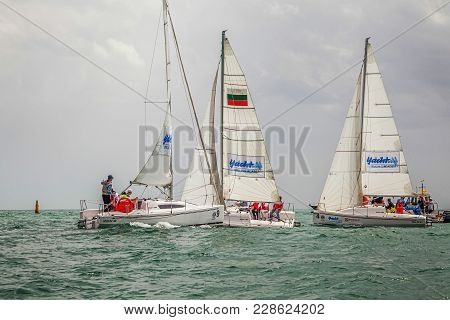 Sochi, Russia - May 21, 2016: Collision Of Yachts Before The Launch