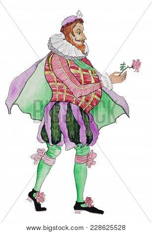 Aristocrat In A Historical Renaissance Costume On A White Background.