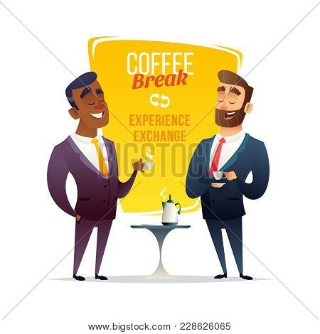 Coffee Break On Business Conference. Two Businessmen Standing Together, Drinking Coffee And Talk Or